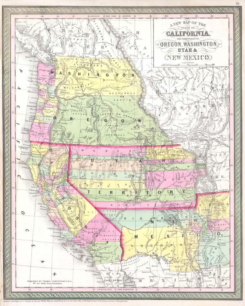 File:1853 Mitchell Map Of California, Oregon, Washington, Utah ^ New - Map Of Oregon And California