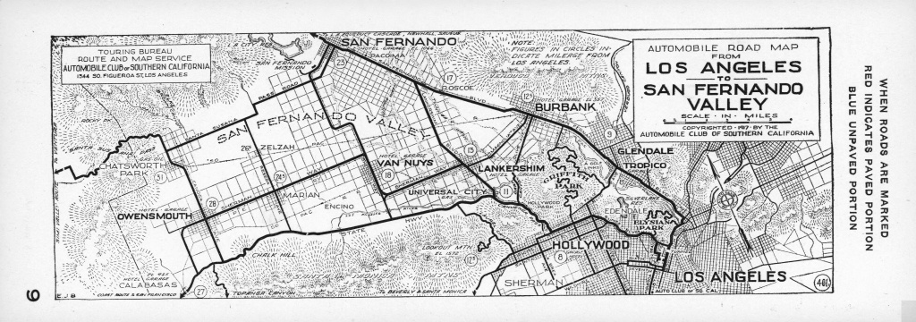 File:automobile Road Map From Los Angeles To San Fernando Valley - Aaa California Map