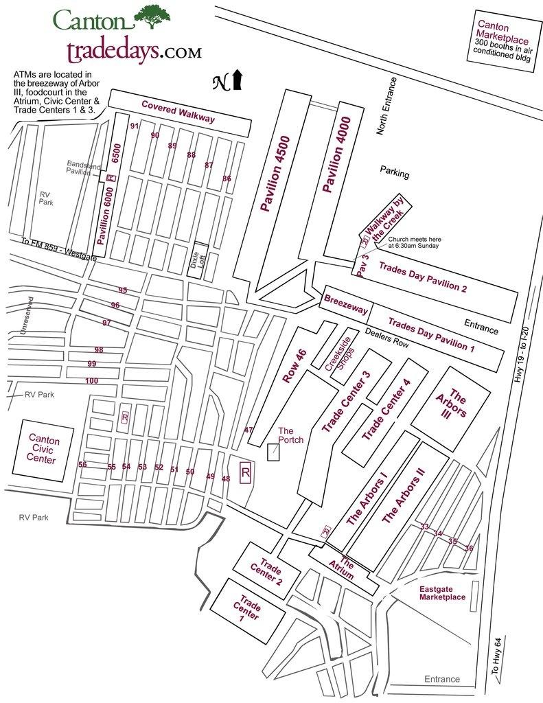 First Monday Trade Days - Maplets - Canton Texas Flea Market Map