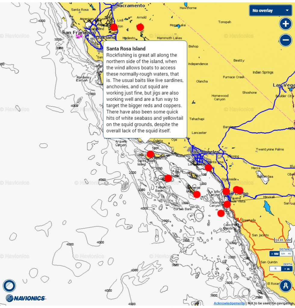 Fishing Hot Spots Chart | Navionics Boating - Bdoutdoors - Southern California Fishing Map