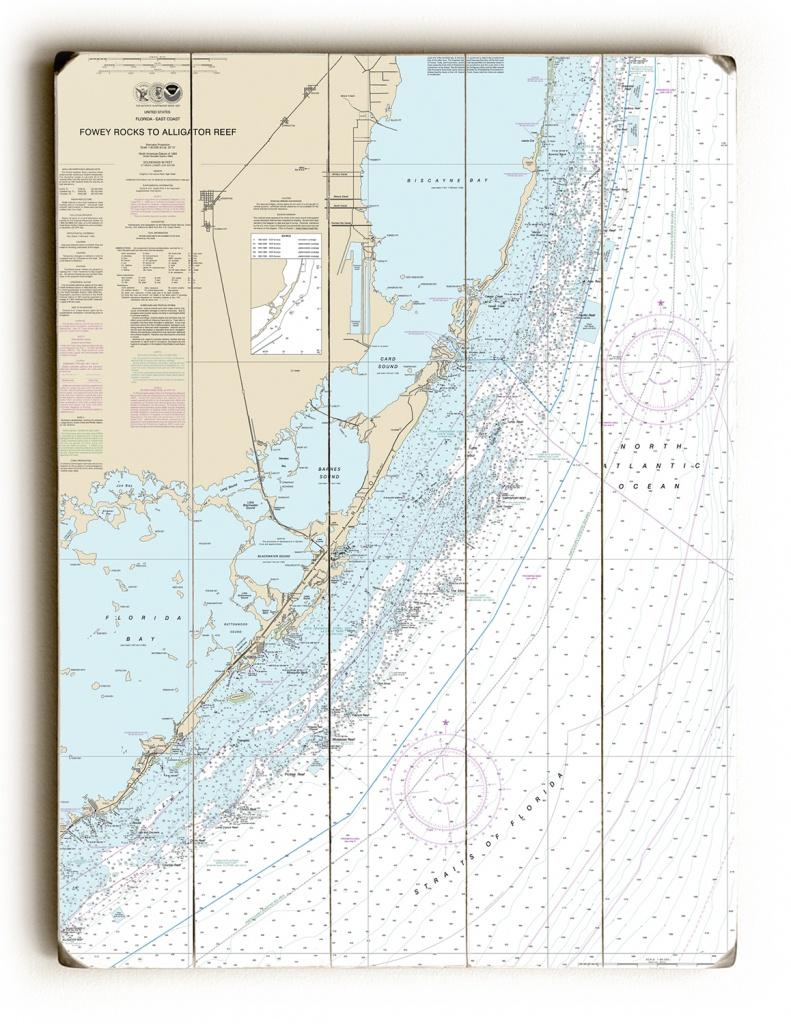 Fl: Fowey Rocks To Alligator Reef, Florida Keys, Fl Nautical Chart Sign - Nautical Maps Florida
