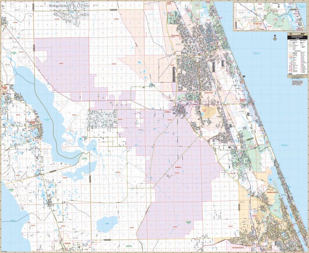 Flagler Co., Fl Wall Map - Street Map Of Ormond Beach Florida