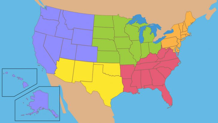 5 Regions Of The United States Printable Map