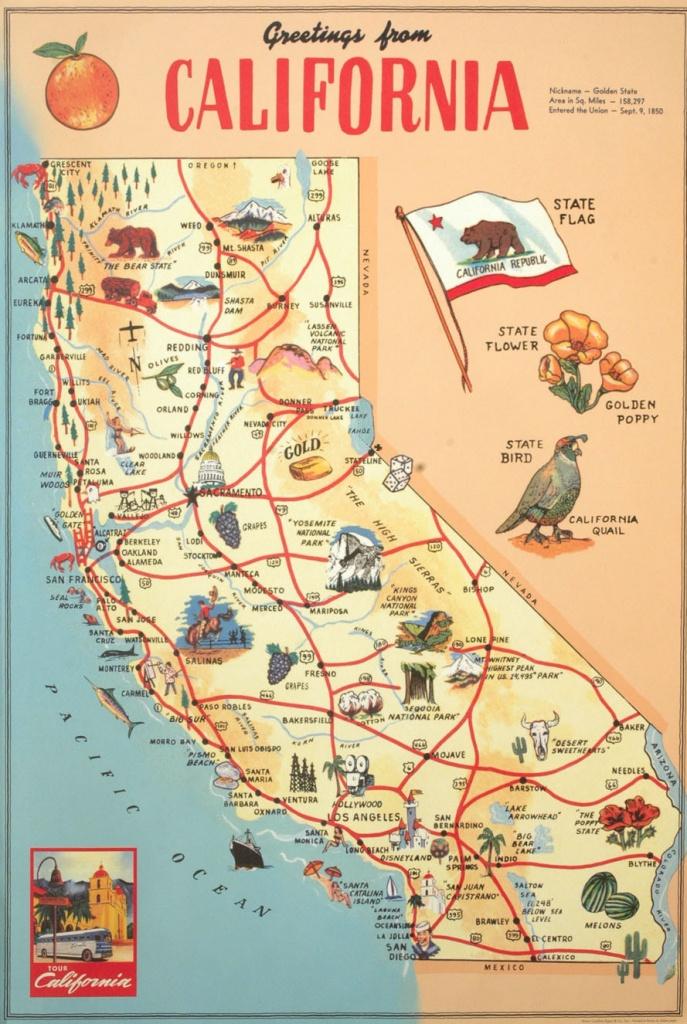 Florentine Print Map Of California - California Map Print