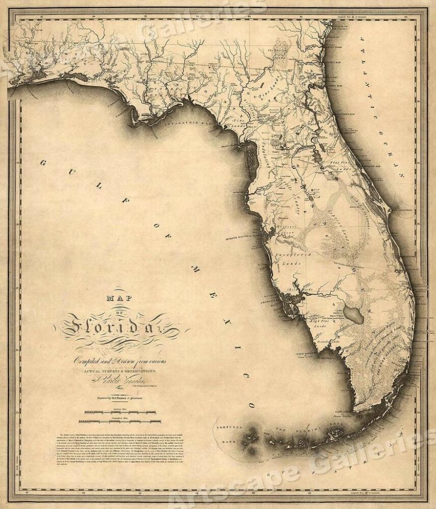 Florida 1823 Historic Decorative Wall Map - 16X20   Ebay - Historic Florida Maps