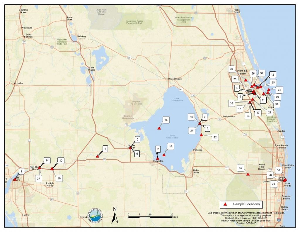 Florida Algal Bloom Report, 7-1-16 | Florida Fishing Report - Florida Blue Green Algae Map