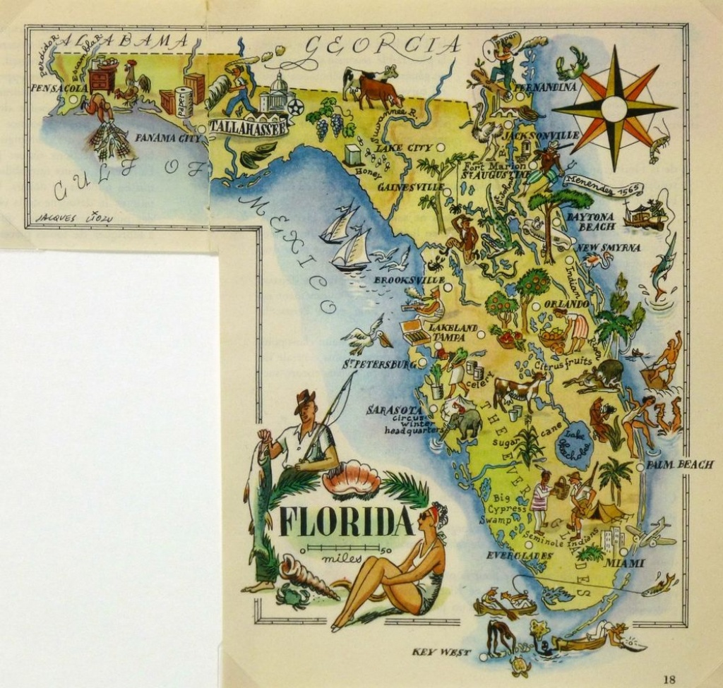 Florida Antique Vintage Pictorial Map | Ebay - Vintage Florida Map