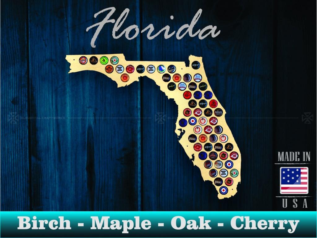 Florida Beer Cap Map Fl Beer Cap Holder Beer Cap Display | Etsy - Florida Beer Cap Map