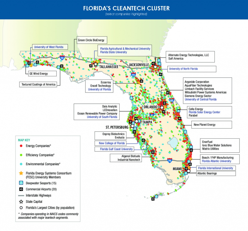 Florida-Cleantech-Companies-Map - Enterprise Florida - Florida Power Companies Map