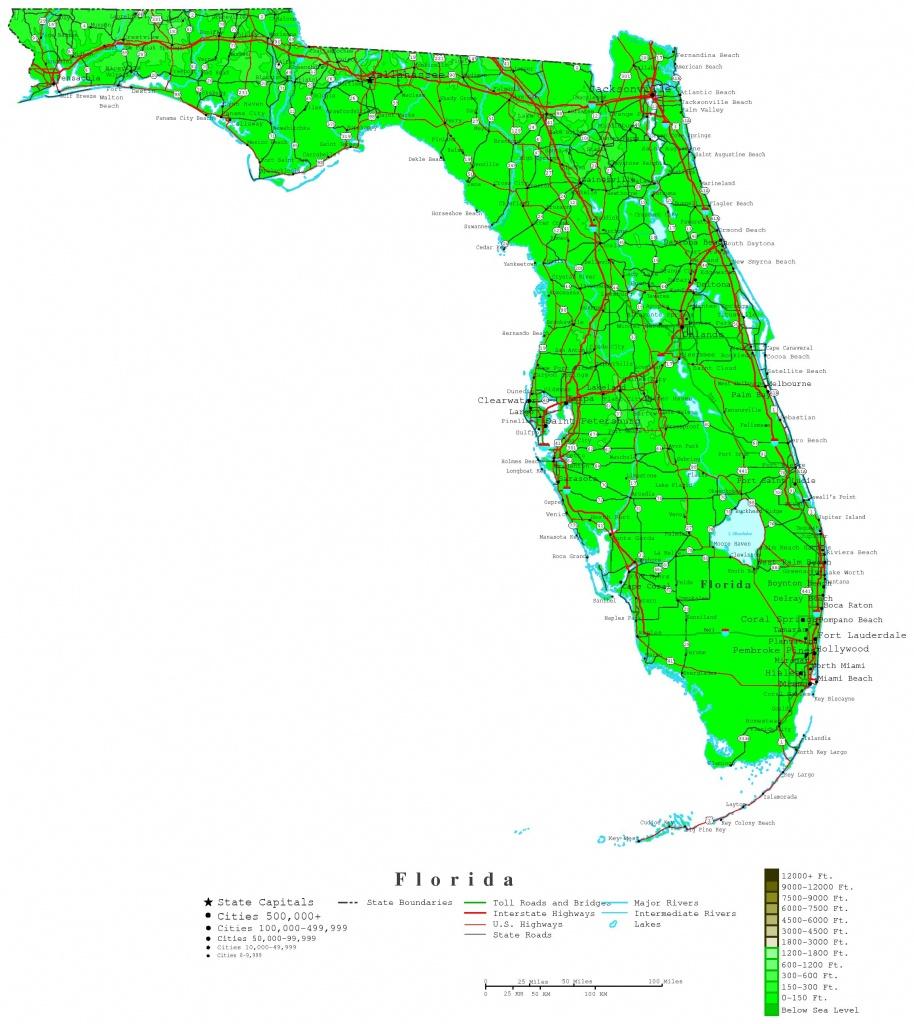 Florida Contour Map - Florida Elevation Map