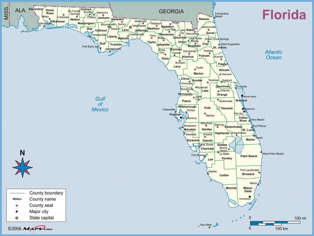 Florida County Outline Wall Map - Maps - Where Is Ft Pierce Florida On A Map