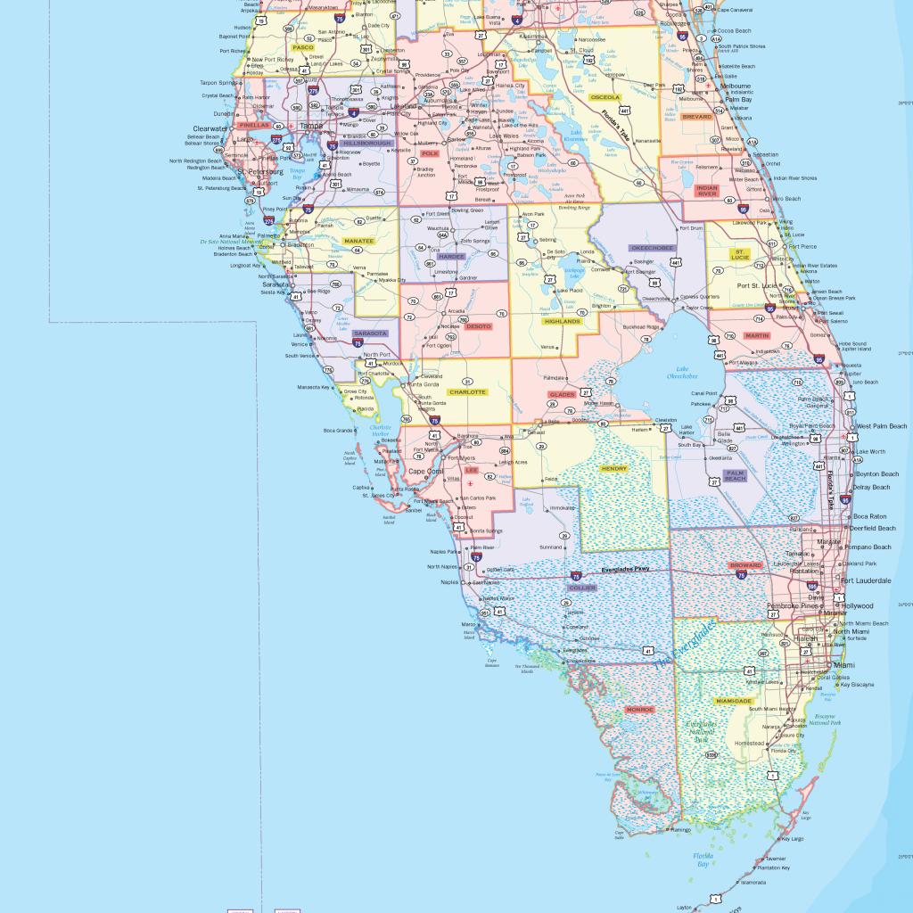 Florida County Wall Map - Maps - Laminated Florida Map
