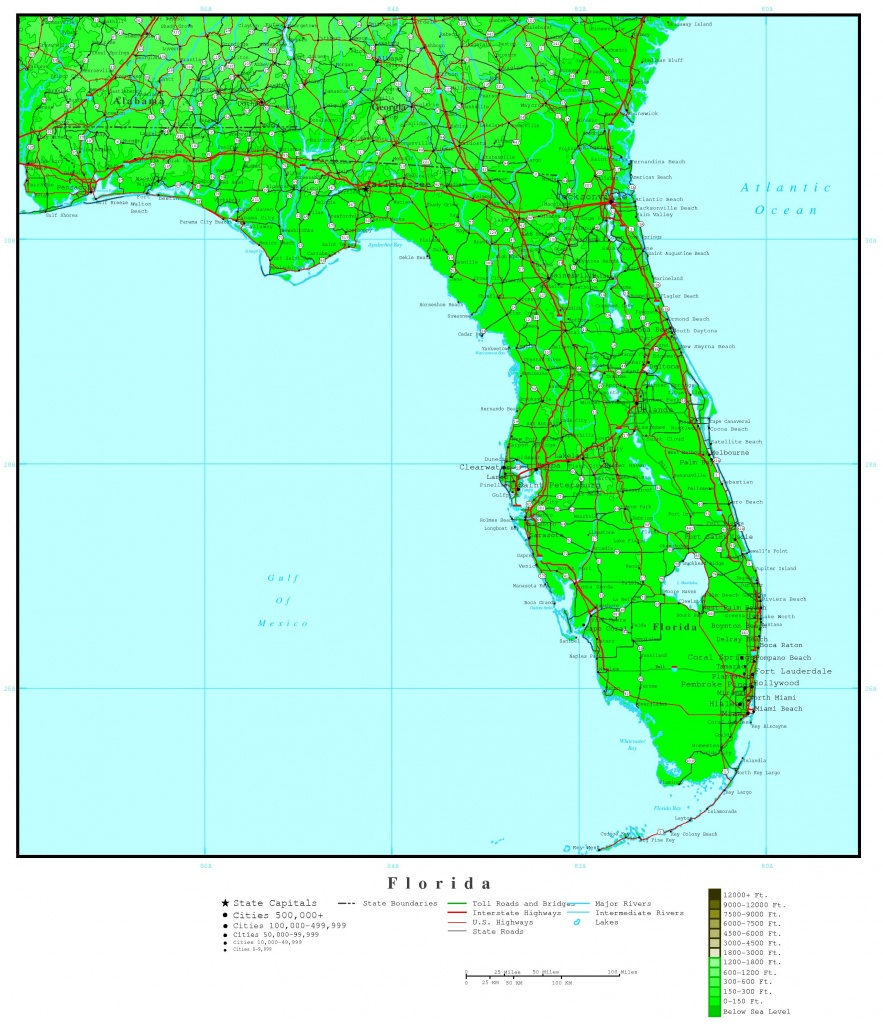 Florida Elevation Map - Florida Elevation Map By County