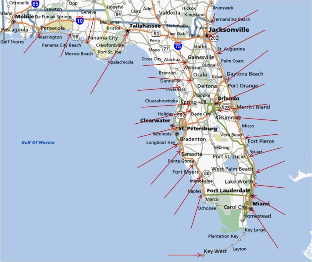 Florida Gulf Coast Beaches Map | M88M88 - Florida Coast Map