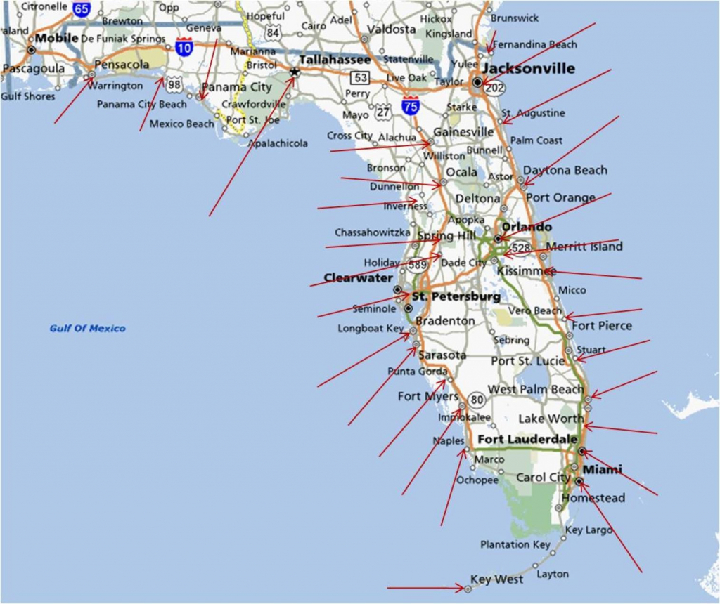 Florida Gulf Coast Beaches Map | M88M88 - Florida Gulf Coastline Map