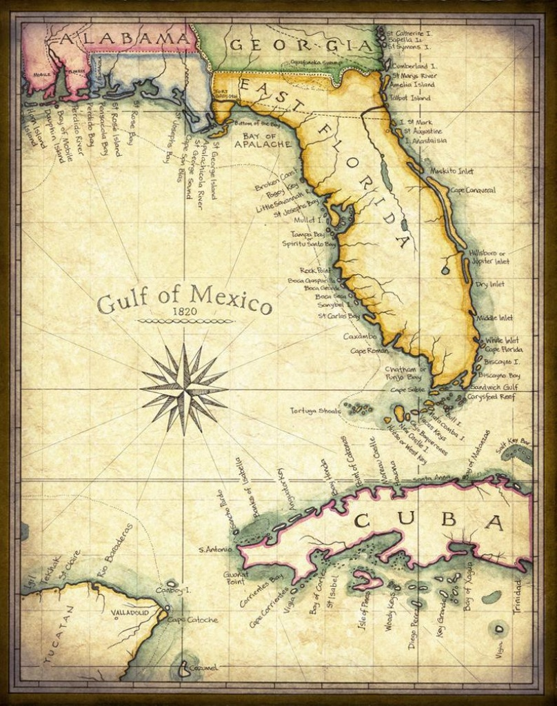Florida Map Art 1820 11 X 14 Prints From Hand | Etsy - Florida Map Art