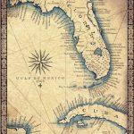 Florida Map Art Print C .1865 11 X 14 Hand Drawn | Etsy   Florida Keys Map Art