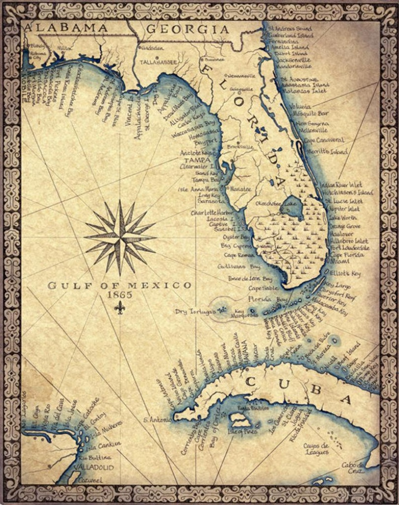 Florida Map Art Print C .1865 11 X 14 Hand Drawn | Etsy - Florida Map Art