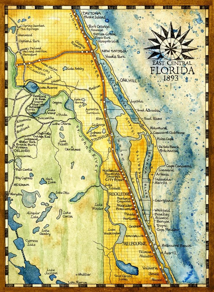 Florida Map Art Print C. 1893 | Etsy - Florida Map Art