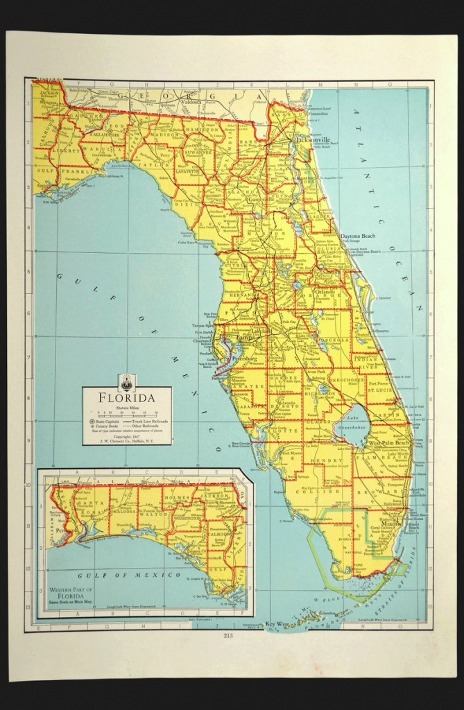 Florida Map Of Florida Wall Art Decor Colorful Yellow Vintage   Etsy - Map Of Florida Wall Art