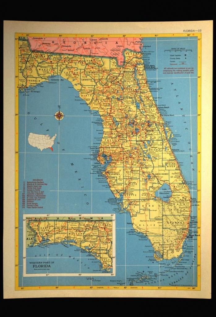 Florida Map Of Florida Wall Art Decor Vintage 1950S Original   Etsy - Florida Wall Maps For Sale