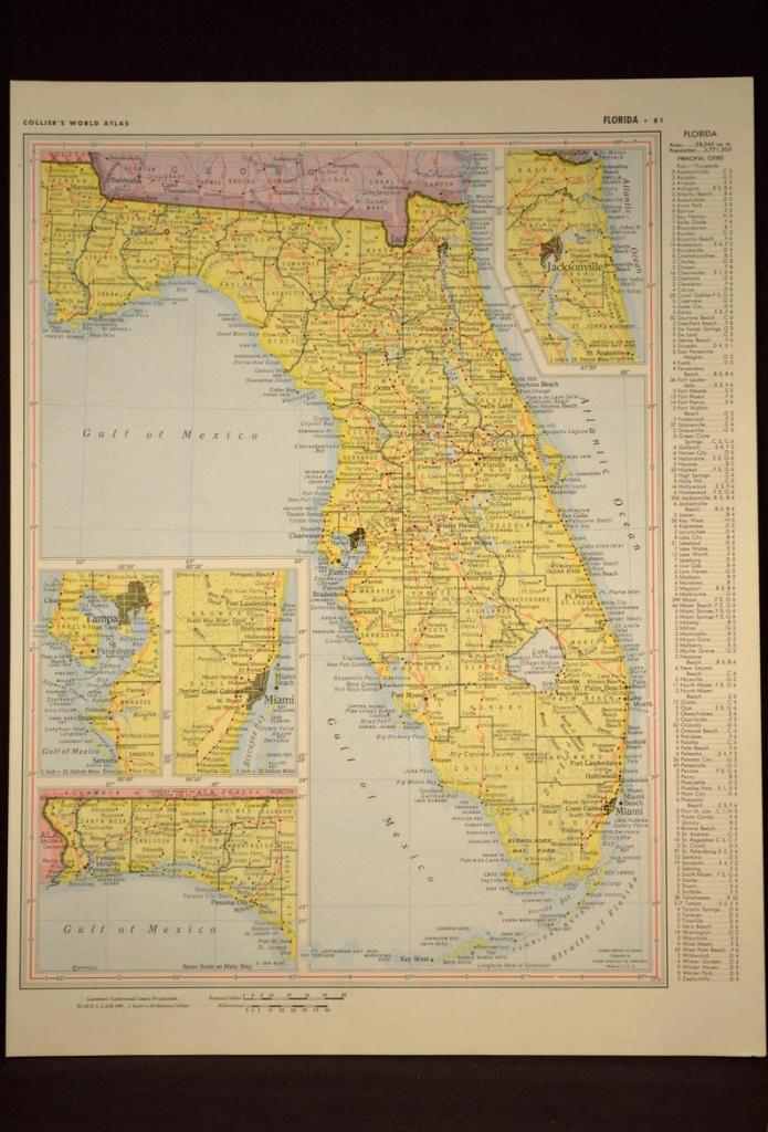 Florida Map Of Florida Wall Art Decor Yellow Original Vintage | Etsy - Florida Map Wall Art