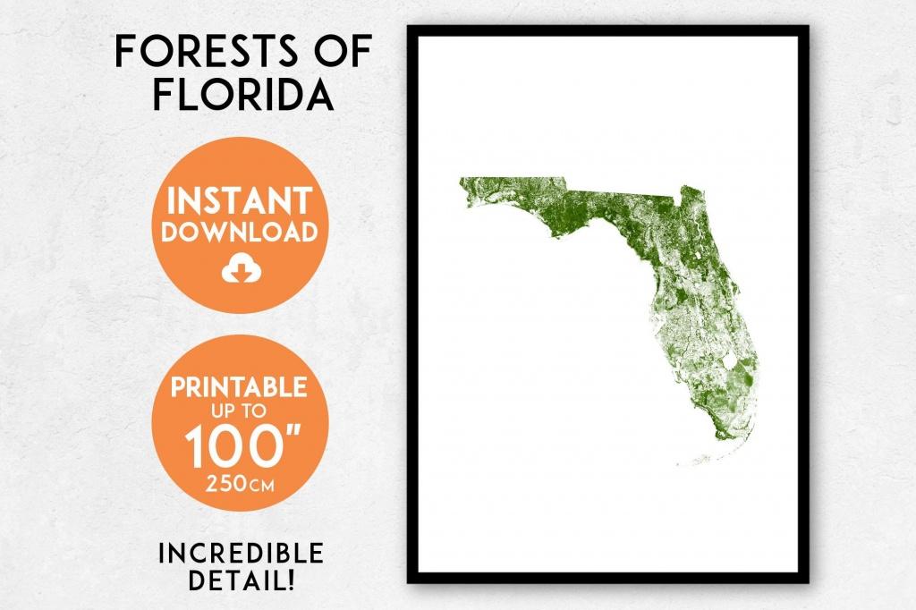 Florida Map Print Printable Florida Map Art Florida Print | Etsy - Florida Map Art