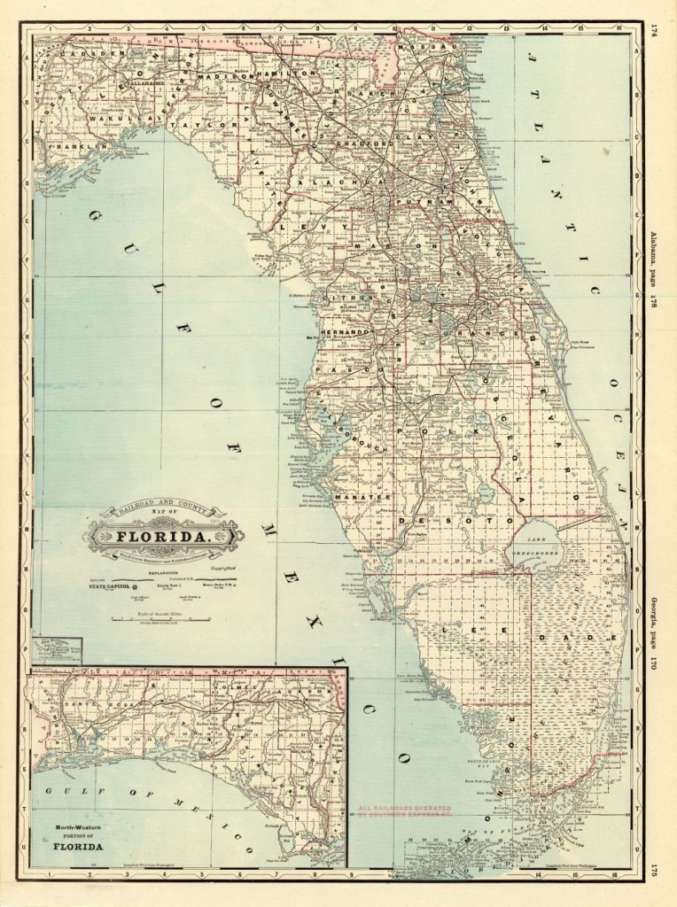 Florida Memory - County Map Of Florida, 1885   History Of Plant City - Plant City Florida Map