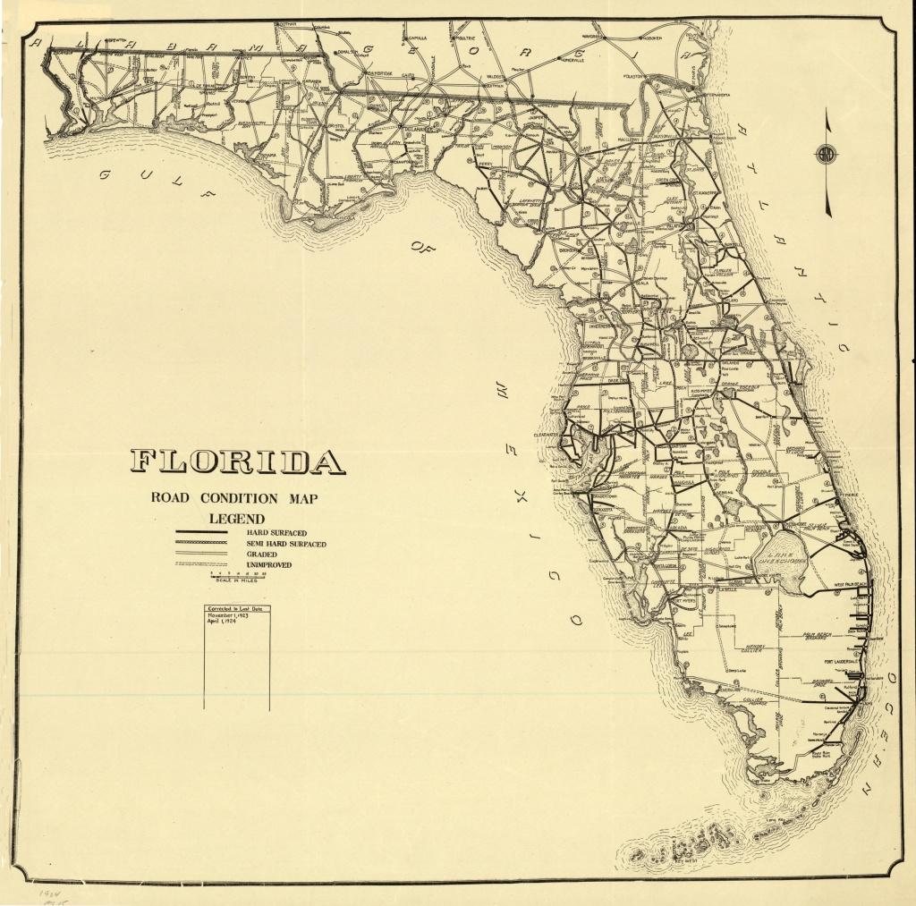 Florida Memory - Florida Road Condition Map, 1924 - Labelle Florida Map