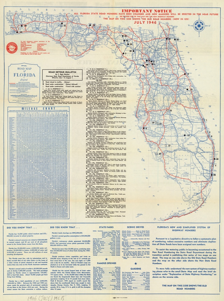 Florida Memory - Official Road Map Of Florida, 1946 - Branford Florida Map