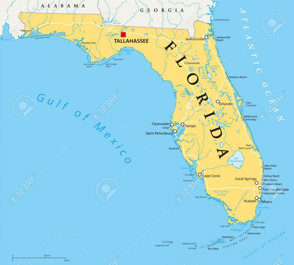 Florida Political Map With Capital Tallahassee, Borders, Important - Florida Lakes Map