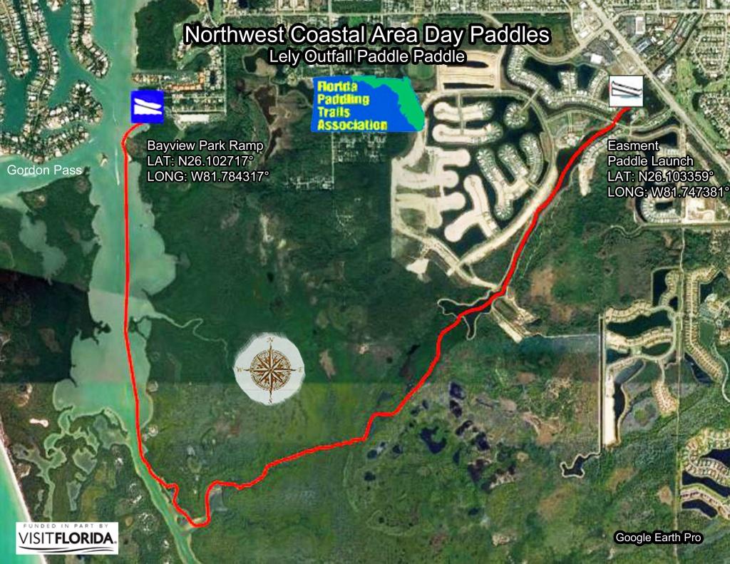 Florida Saltwater Circumnavigation Paddling Trail - Lely Florida Map