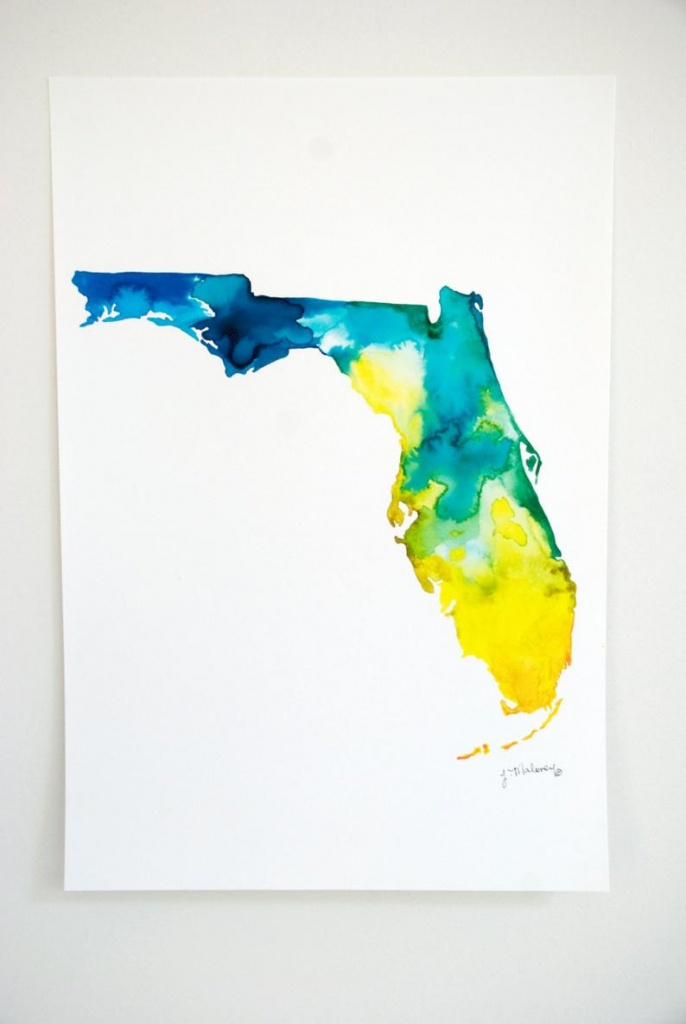 Florida Watercolor Map | Etsy - Where Is Watercolor Florida On A Map
