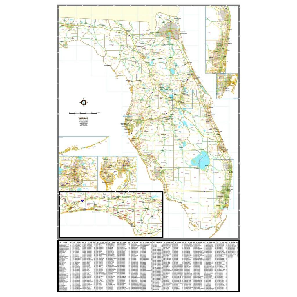 Florida Zip Code Wall Map - The Map Shop - Florida Zip Code Map