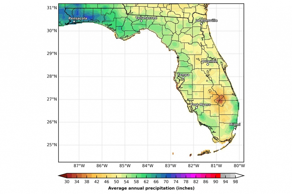 Florida's Climate And Weather - Florida Heat Index Map