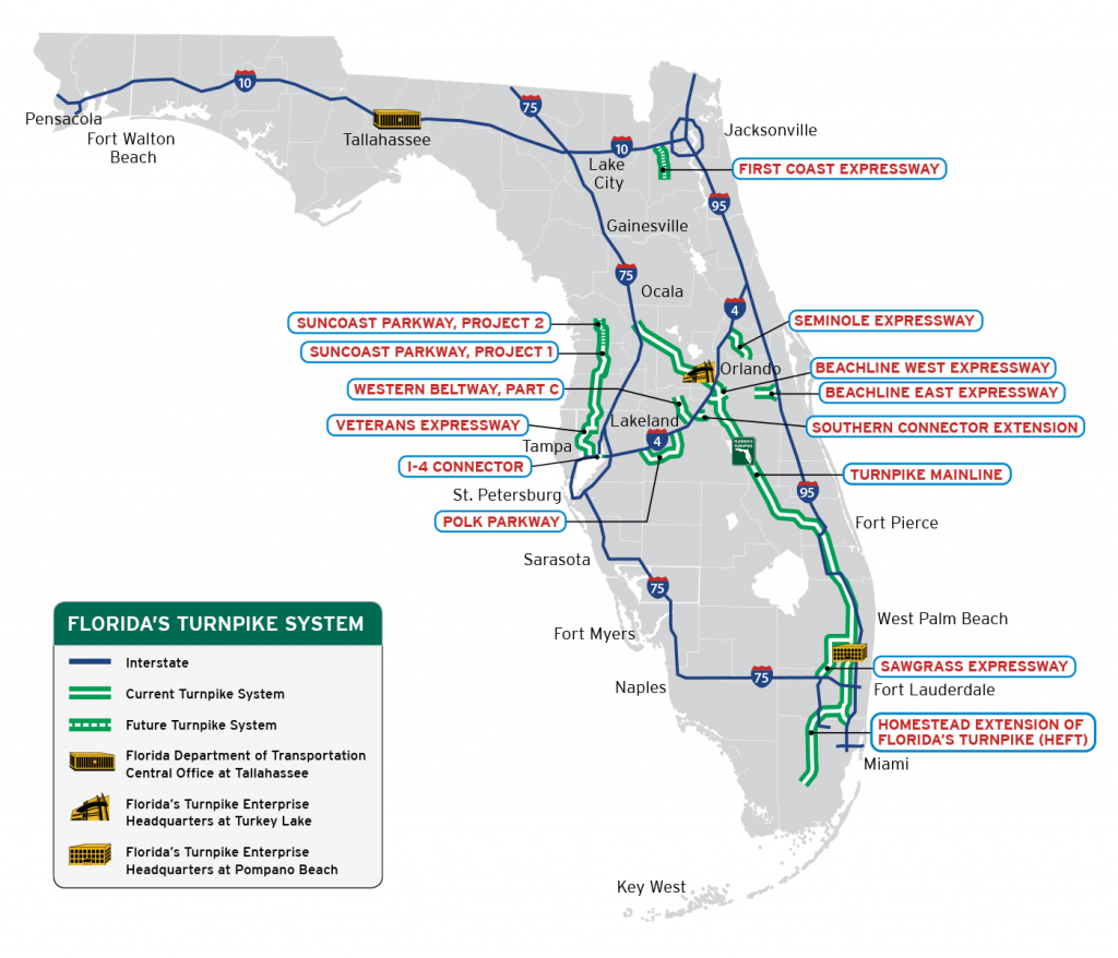 Florida's Turnpike - The Less Stressway - Map Of East Coast Of Florida Cities