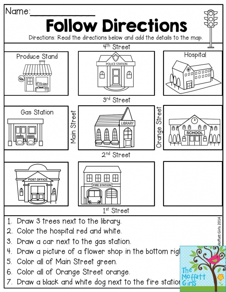 Follow Directions- Read The Directions And Add The Details To The - Free Printable Direction Maps