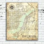 Fort Myers Fl Canvas Print Florida Vintage Map Fort Myers Vintage   Printable Map Of Ft Myers Fl