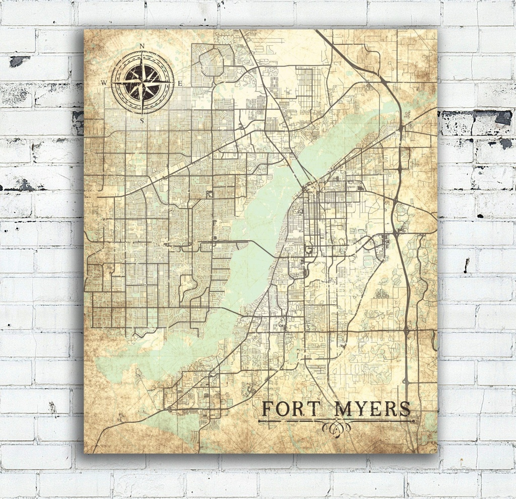 Fort Myers Fl Canvas Print Florida Vintage Map Fort Myers Vintage - Printable Map Of Ft Myers Fl