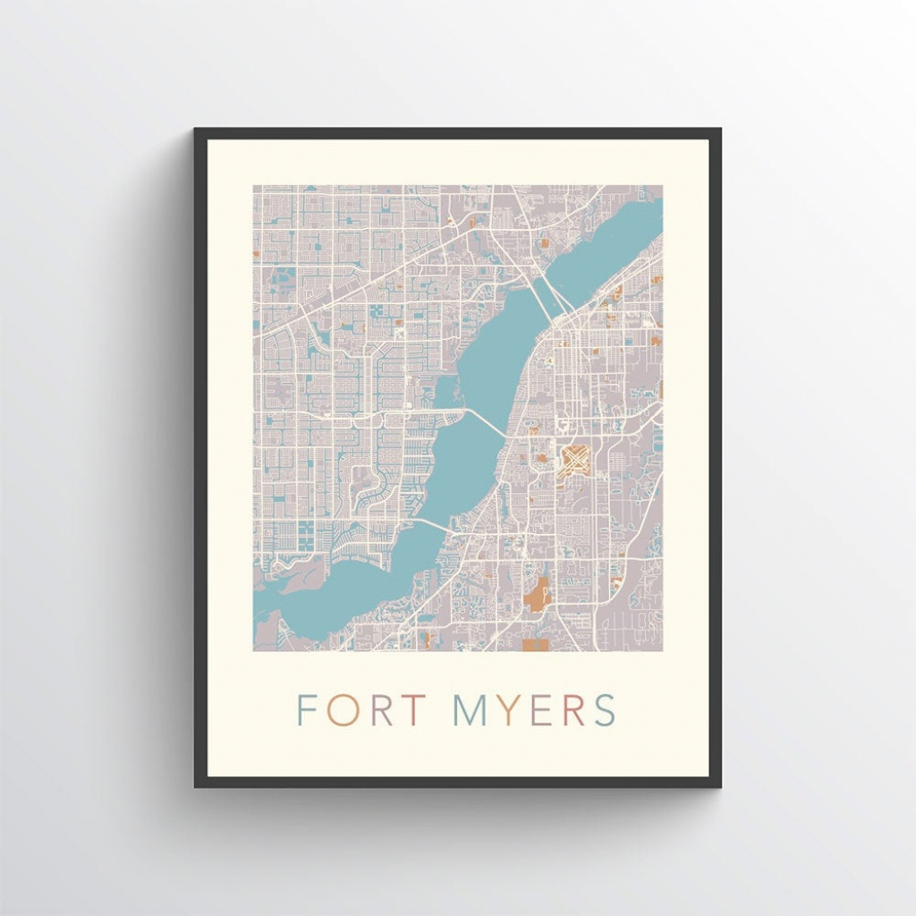 Fort Myers Map Fort Myers Print Fort Myers Poster Fort | Etsy - Printable Map Of Ft Myers Fl