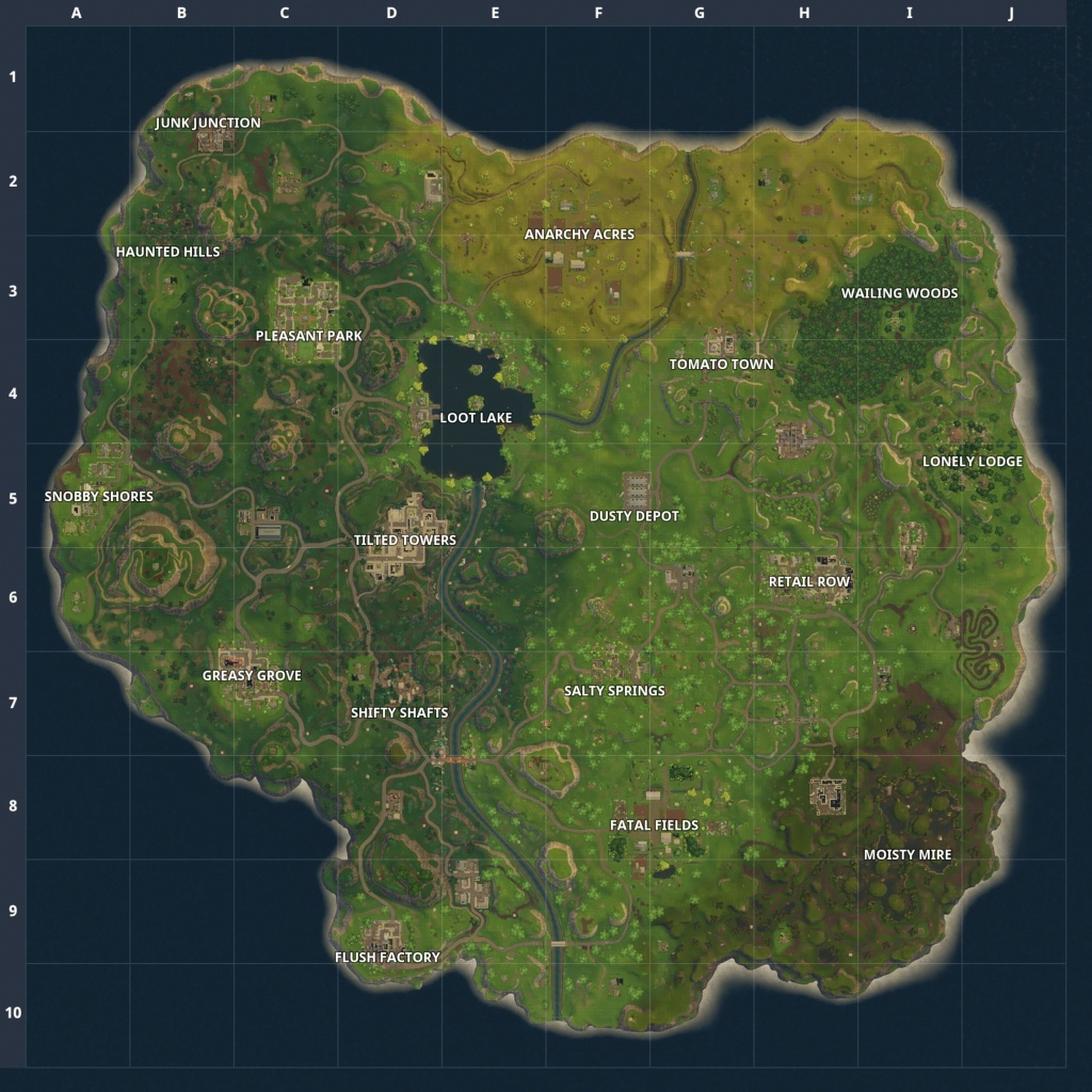 Fortnite Battle Royale Map: Chest Spawn Locations Updated Map - Printable Fortnite Map