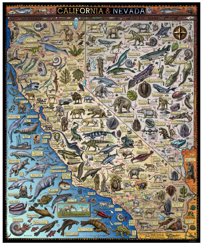 Fossil Map Of California & Nevada - Troll Art - California Nevada Map