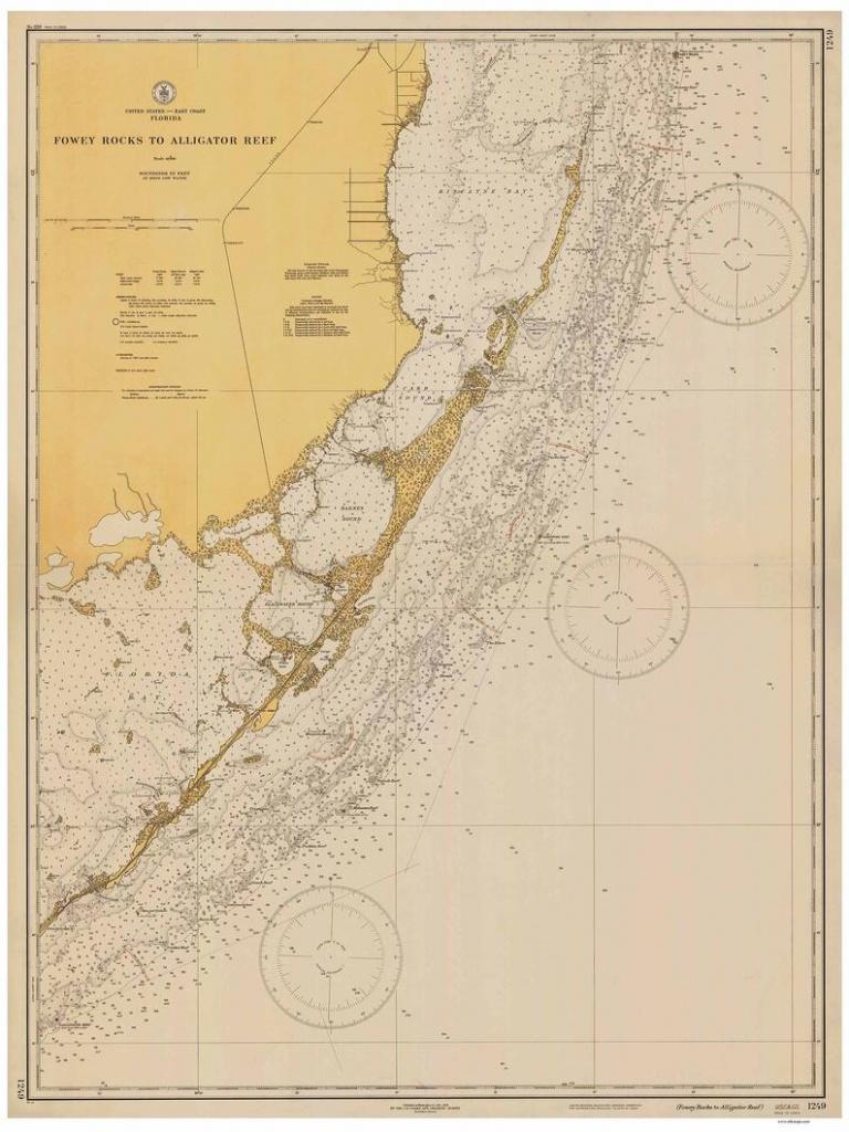 Fowey Rocks To Alligator Key 1935-Nautical Map Florida City Upper Matecumbe  Key Florida 80000 At Chart 1249 -Reprint-Biscayne Bay-Key Largo - Water Depth Map Florida