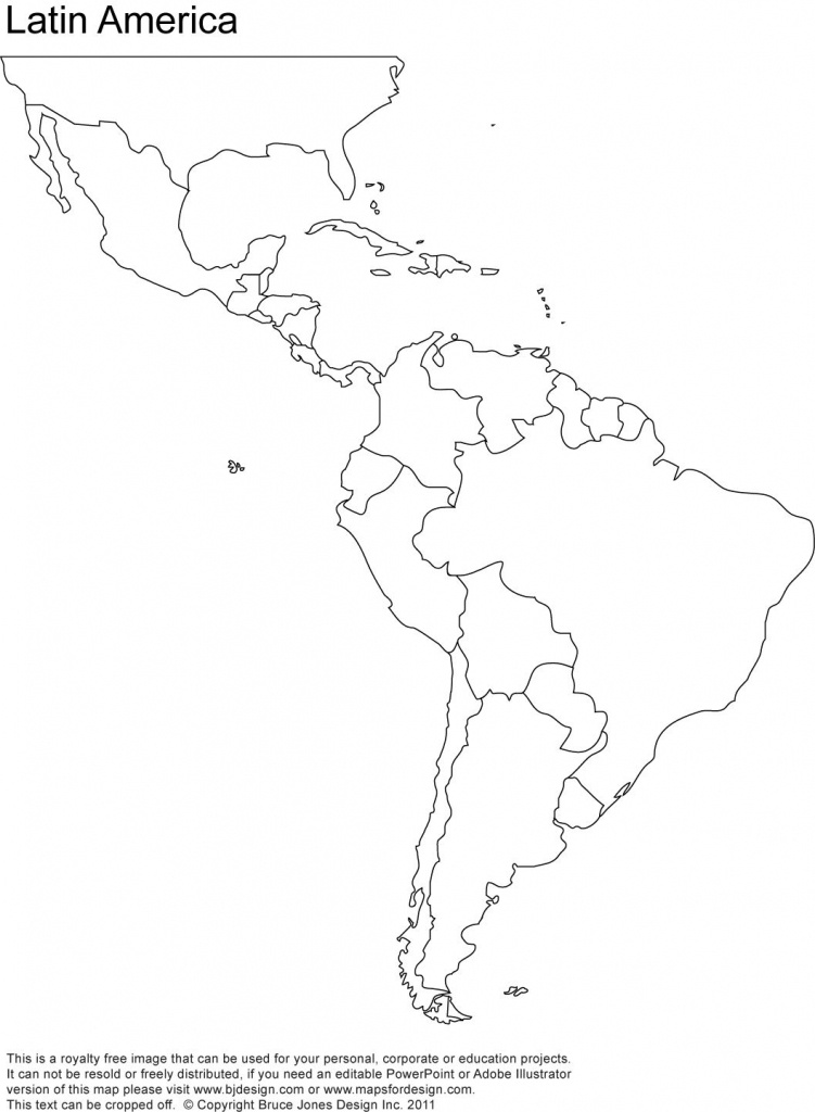 Free Blank Map Of North And South America | Latin America Printable - Blank Map Of The Americas Printable