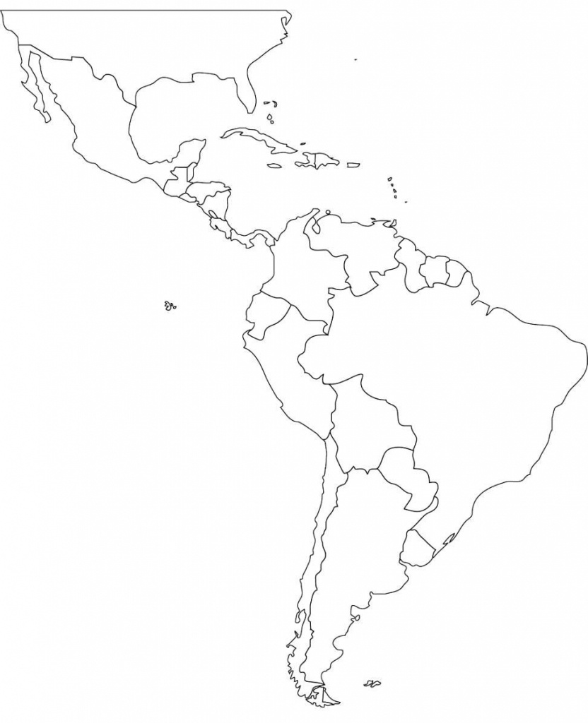 Free Blank Map Of North And South America Latin Printable In For 2 - Printable Map Of North And South America