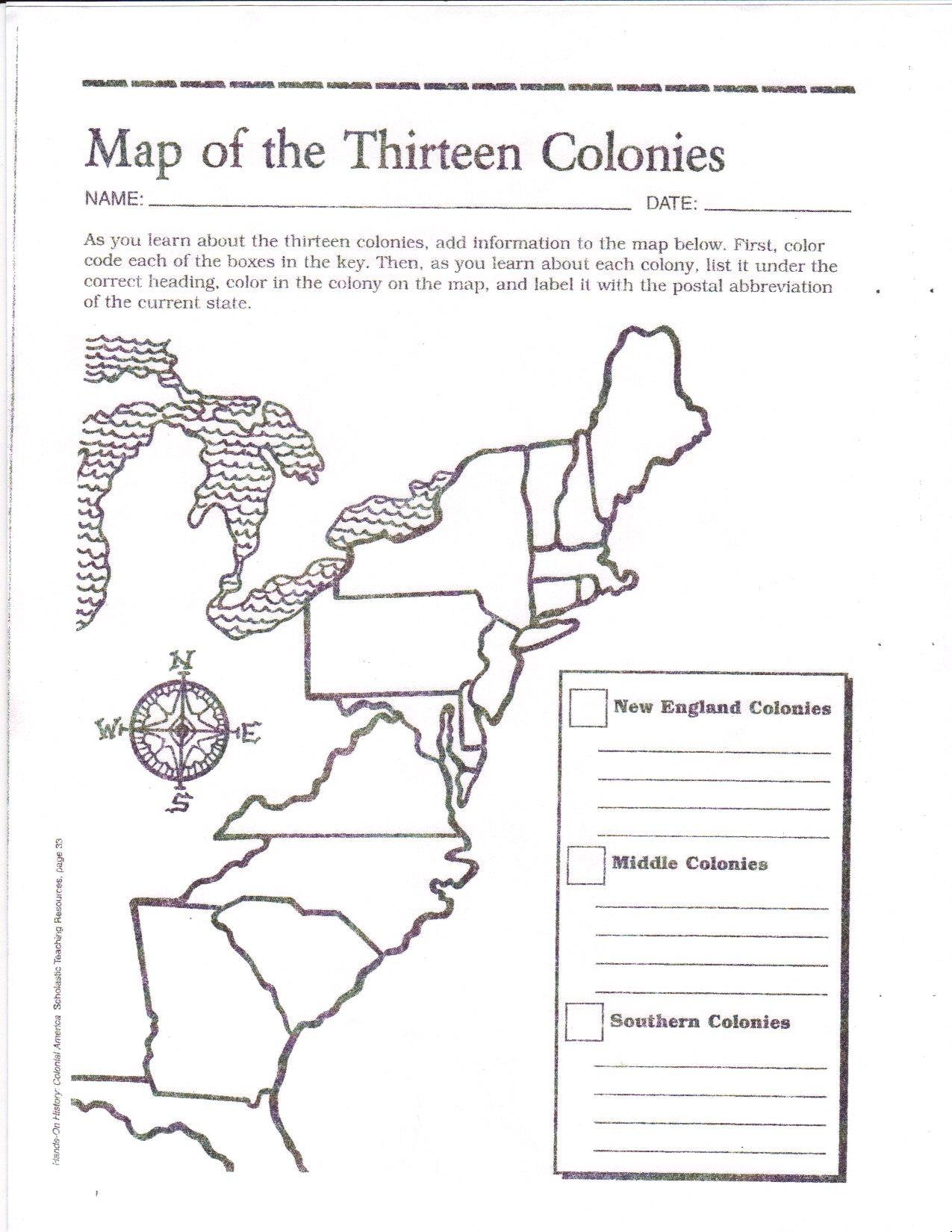 Free Printable 13 Colonies Map … | Activities | 7Th G… - 13 Colonies Blank Map Printable