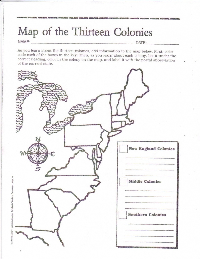 Free Printable 13 Colonies Map … | Activities | 7Th G… - 13 Colonies Map Printable