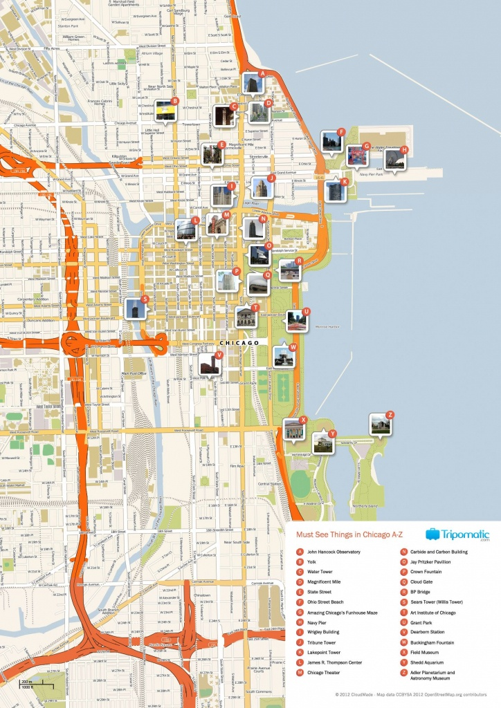 Free Printable Map Of Chicago Attractions. | Free Tourist Maps - Map Of Chicago Attractions Printable