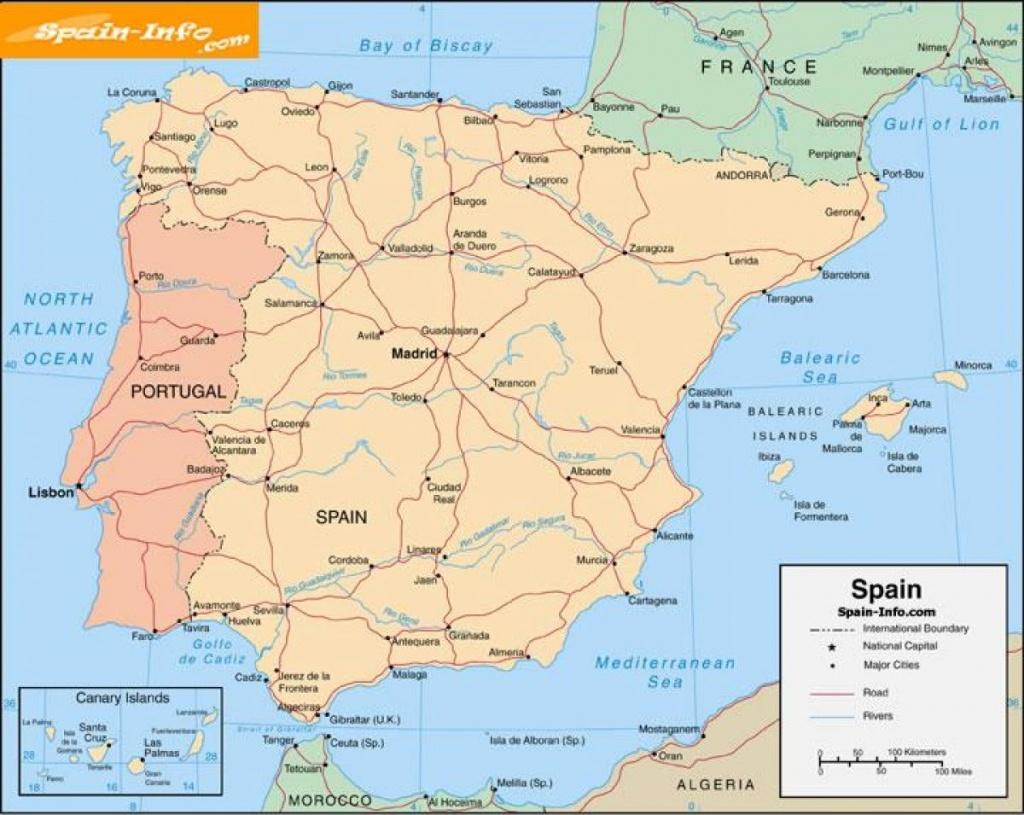 Free Printable Map Of Spain - Printable Map Of Spain With Cities - Printable Map Of Spain With Cities