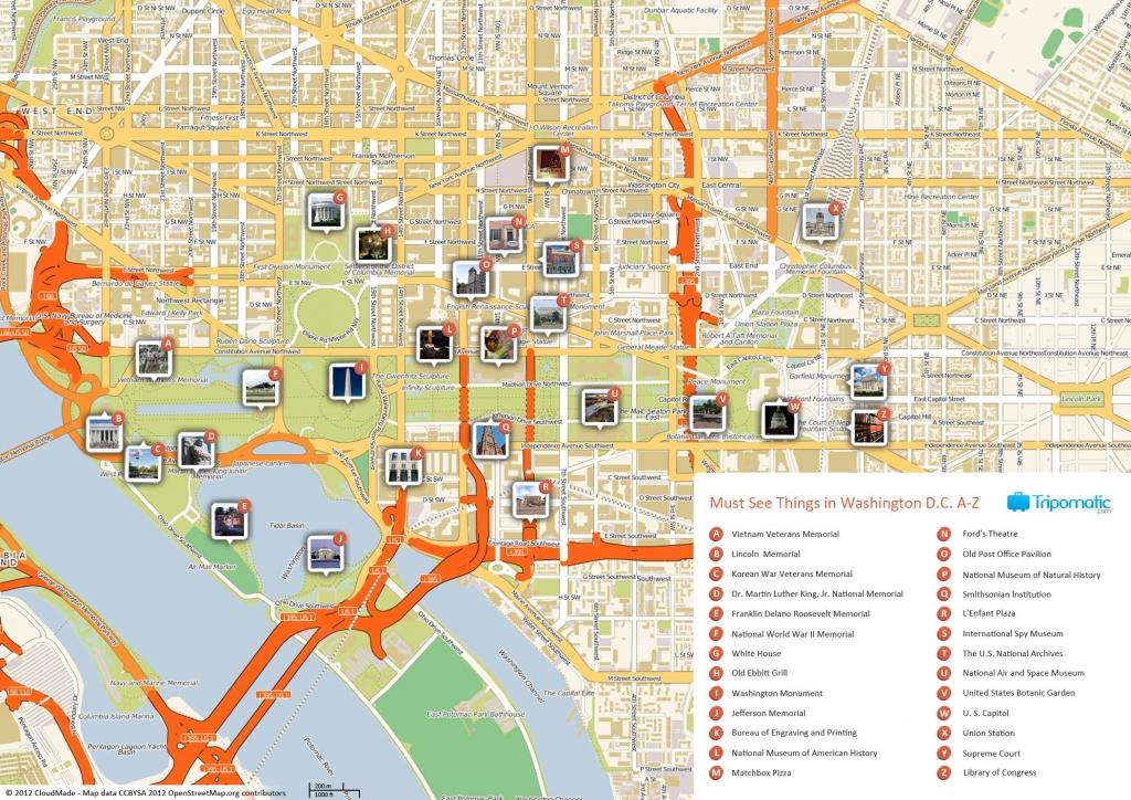 Free Printable Map Of Washington D.c. Attractions.   Washington Dc - Printable Map Of Downtown Dc